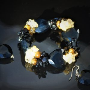 Black gem bracelet set zadara jewels