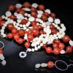 Carnelian pearl set zadara jewels