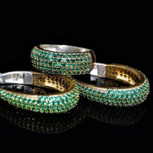 Green oval hoop set zadara jewels