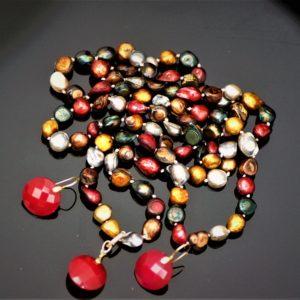 Red crystal pearl set zadara jewels