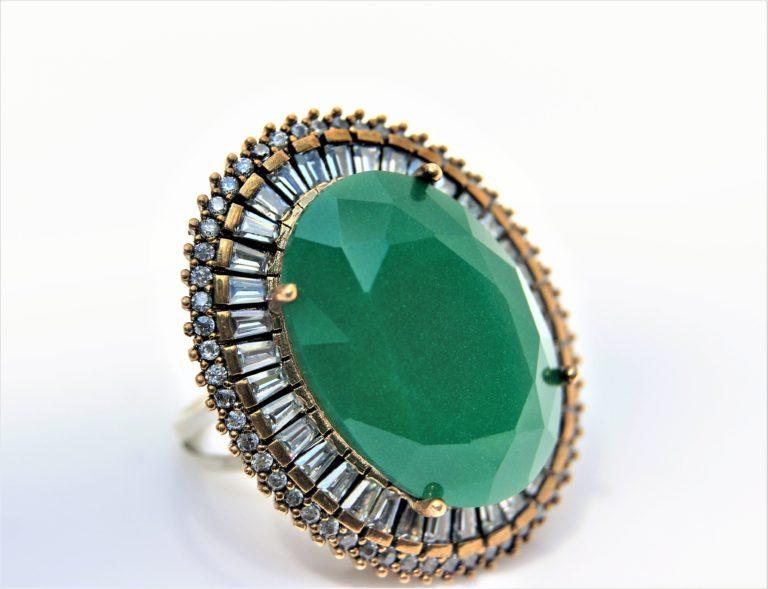 Green-onyx silver ring zadara jewels