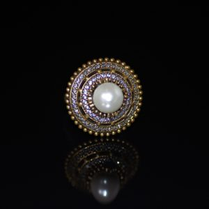 Glass-pearl in white zirconia ring zadara jewels