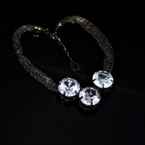 Gunmetal glass necklace zadara jewels